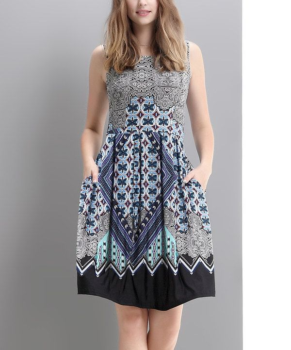 Look at this Navy Suzani Fit & Flare Dress on #zulily today!