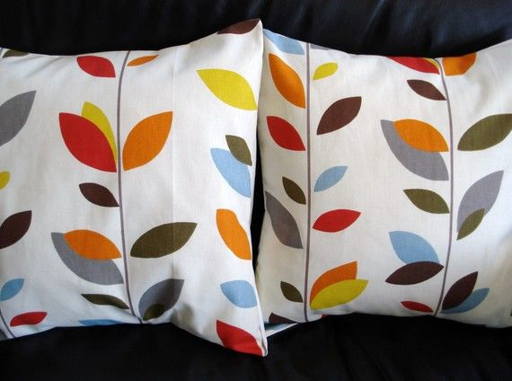 Throw pillow covers orange blue olive red yellow grey by VeeDubz