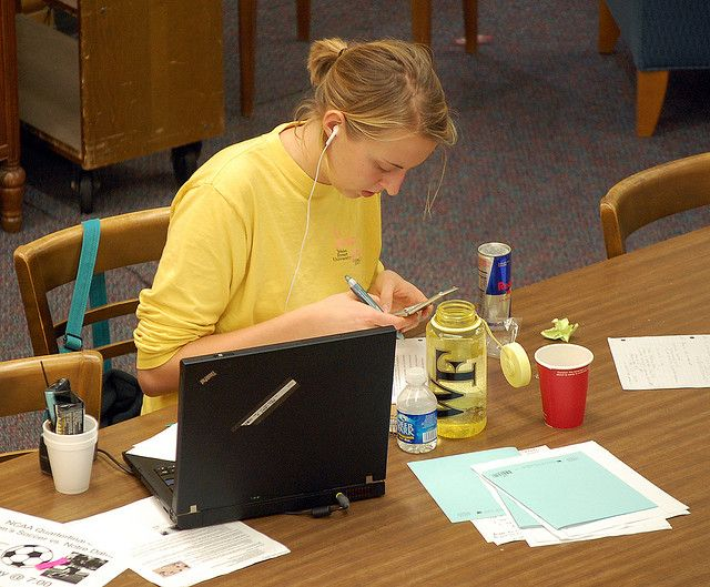 Students Multi-task When Studying for Exams by zsrlibrary, via Flickr