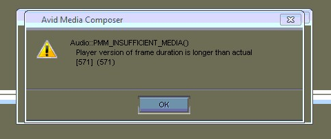 PMM INSUFFICIENT MEDIA - AVID Error message solution