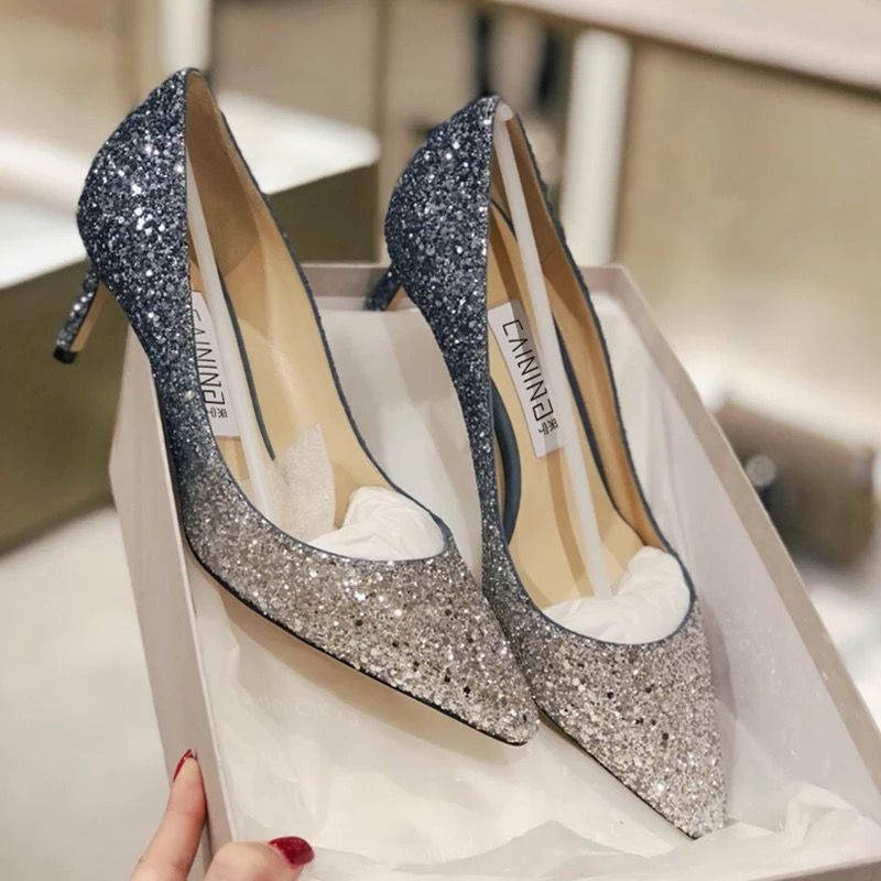 Sparkly Crystal Silver Blue Gradient High Heels Wedding Party Shoes Fs100 From Fashiongirlshoes Prom Heels Party Shoes Wedding Heels