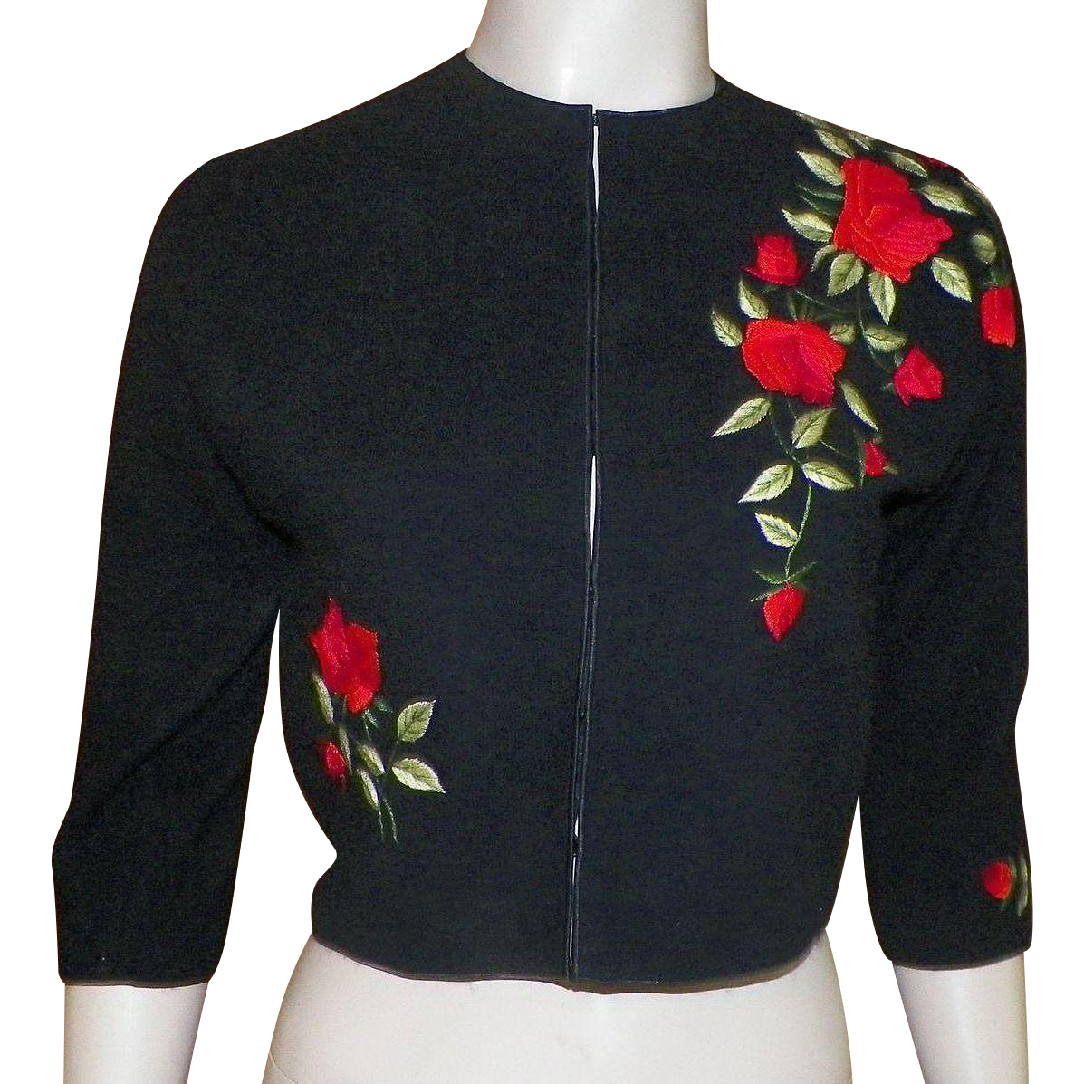 Vintage 1960s Black Wool Sweater With Embroidered Red Roses Ruby