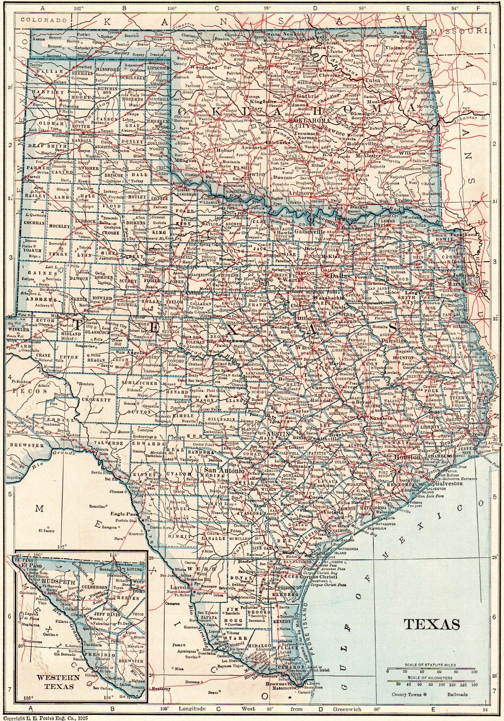 A Map Of The State Of Texas.1925 Antique Texas Map Oklahoma Map State Map Of Oklahoma Print