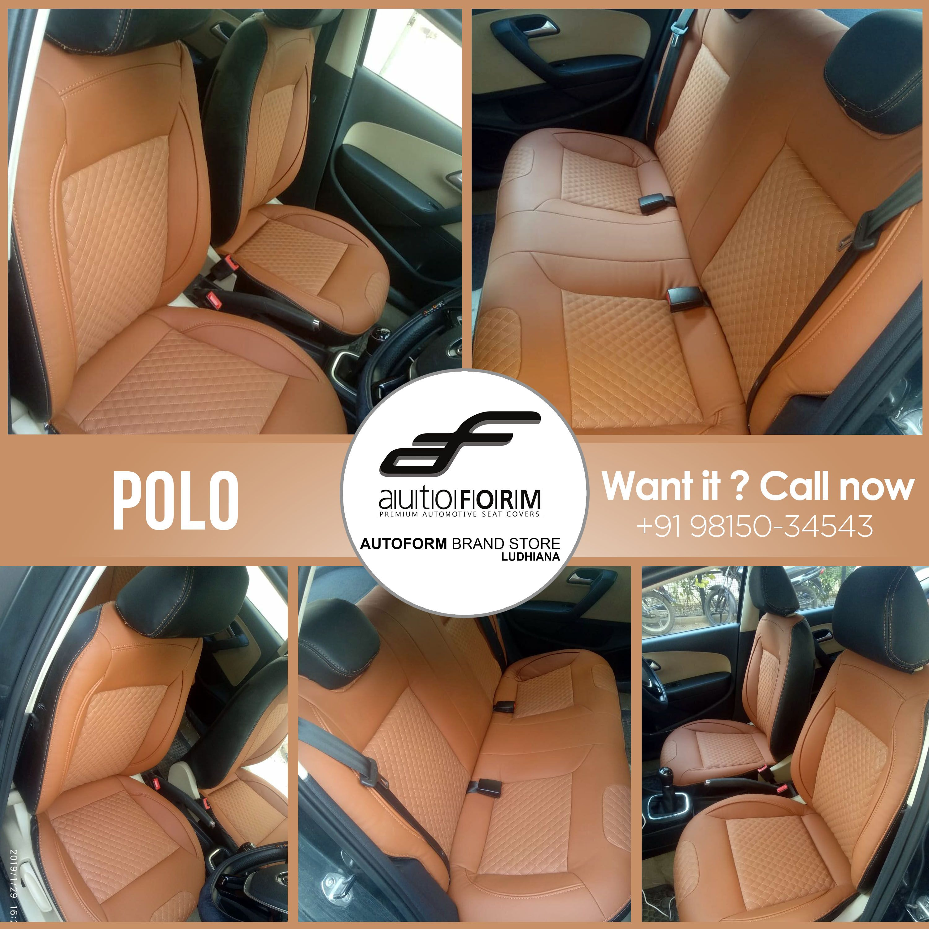 Volkswagen Polo In Branded Nappa Series From Autoform India Seat Covers In Tan Black Colour For This Variant Looks Magn Brand Store Volkswagen Polo Ludhiana