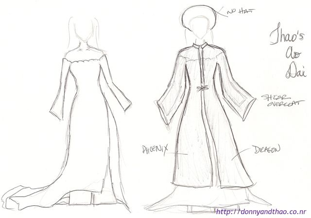 Sketch of Ao Dai design for the bride - adorkableduo.com   Bride ...
