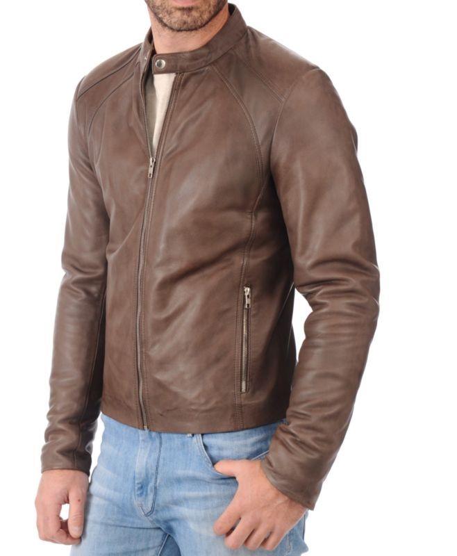 Negro K332N Trendtales Chaqueta de Cuero para Hombre Piel de Cordero