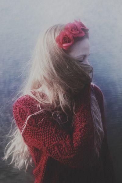 # long hair # red # flowers