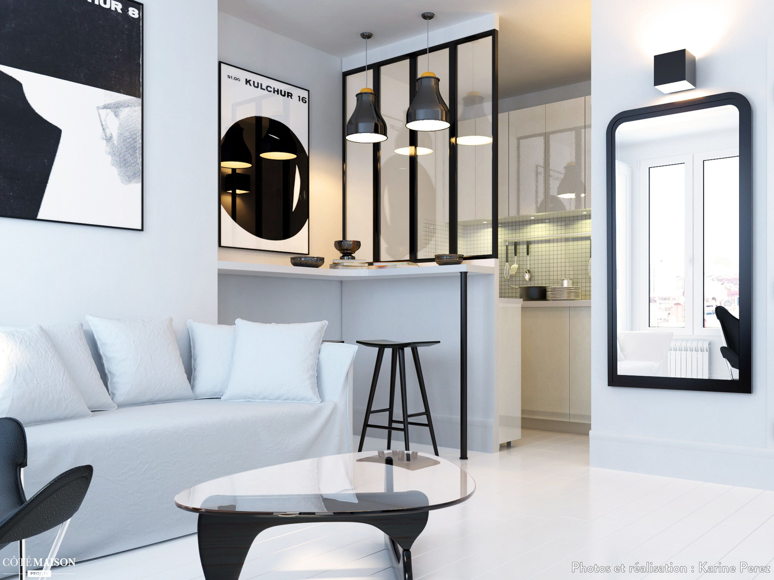 r novation d 39 un studio de 20 m2 en noir et blanc paris 18 karine perez architecte d. Black Bedroom Furniture Sets. Home Design Ideas