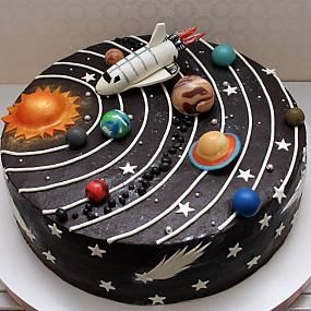 Solar system cake // kids party ideas #outerspaceparty