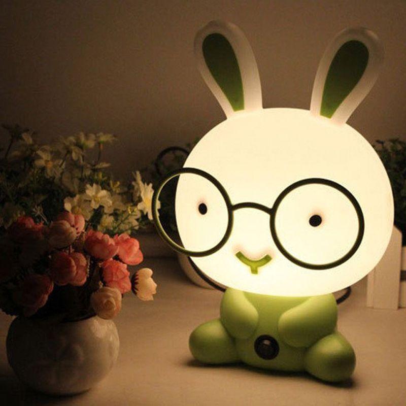 Cute Baby Room Wearing Gles Rabbit Cartoon Night Sleeping Light Kids Bed Lamp