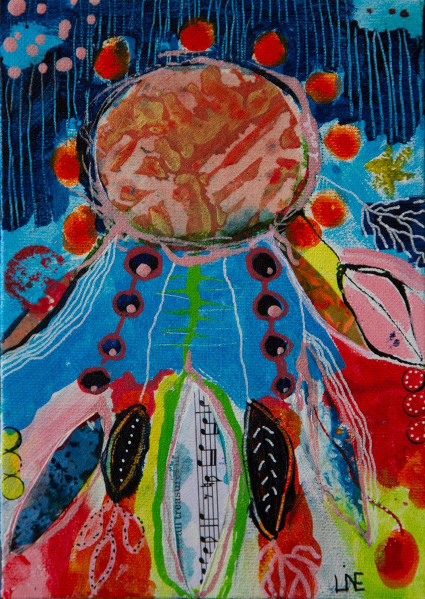 Dream in December mixed media 13*18 cm 300kr + porto Kontakt linebank@me.com har du lyst til at se mere www.facebook.com/banksabstractions