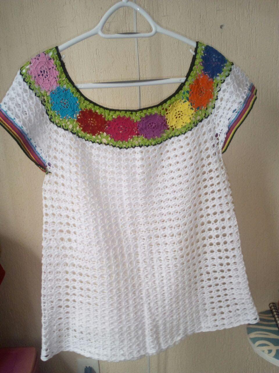 Blusa Tabasqueña, | veranito crochet | Pinterest | Croché, Ganchillo ...