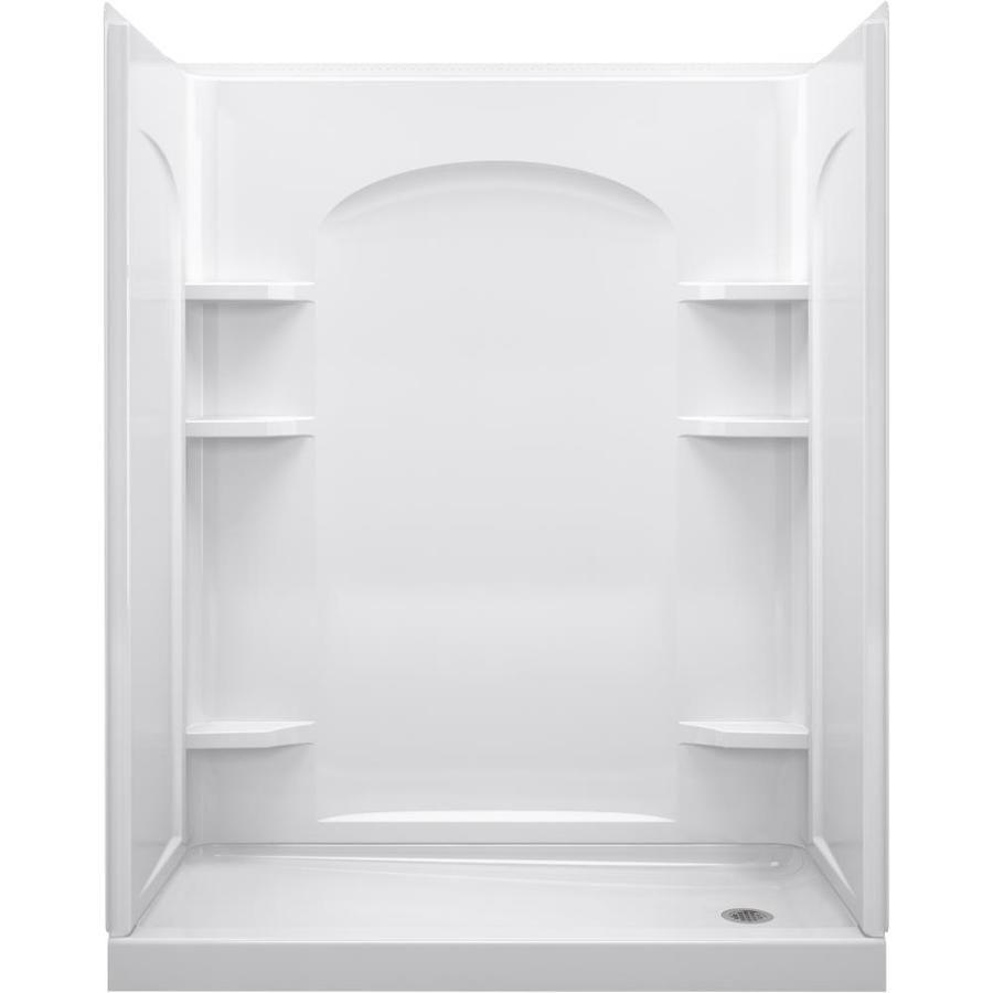 Sterling Ensemble Curve White 4 Piece Alcove Shower Kit Common