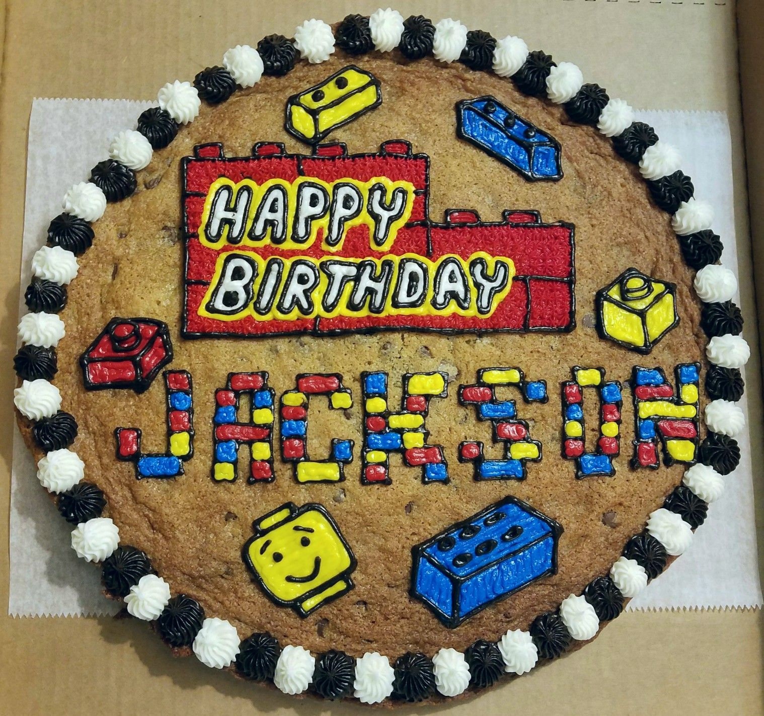 Strange Lego Cookie Cake With Images Chocolate Chip Cookie Cake Funny Birthday Cards Online Sheoxdamsfinfo