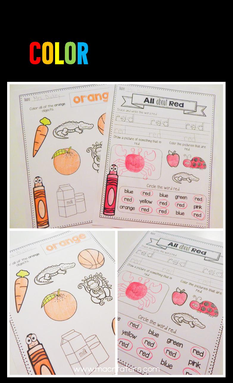 Kindergarten Color and Number Word Homework by Kindergarten Is Crazy