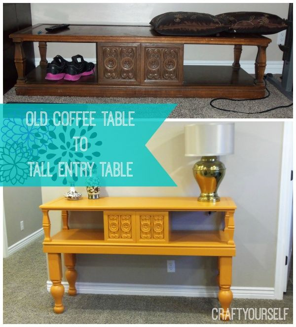 upcycle an old coffee table to a tall entry table | entry tables