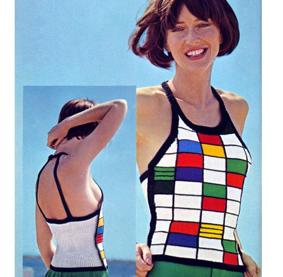 Vintage Knitting Pattern 1970s Mondrian Block Halter Top Sexy Backless Digital Download PDF
