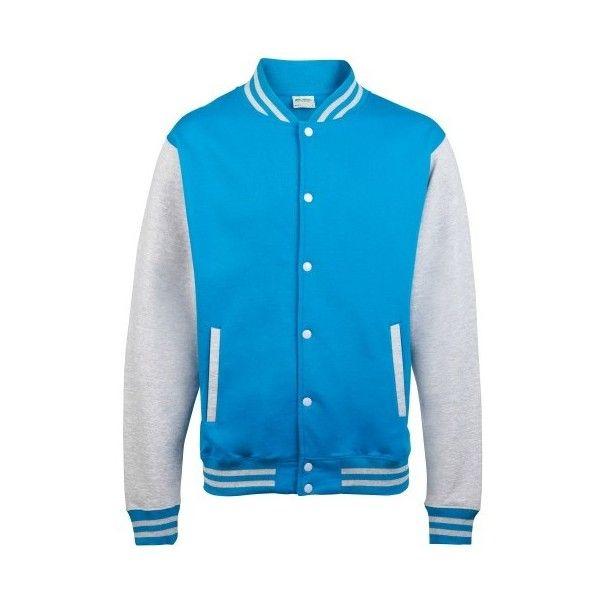 Awdis Unisex Varsity Jacket M Sapphire Blue//Heather Gray