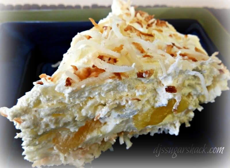 A perfect summer dessert made with coconut and pinapple. this Pina Colada Pie will take you to the tropics