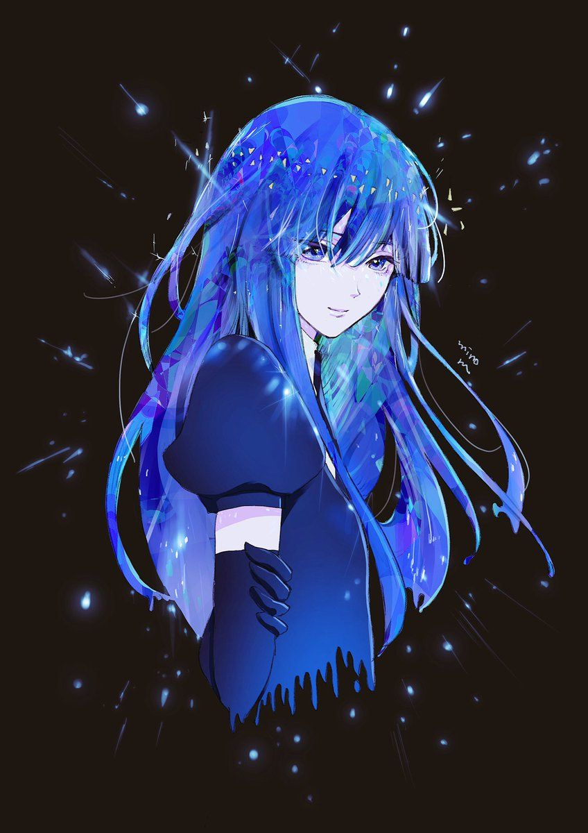 みのるん on Twitter  Anime blue hair, Anime fantasy, Blue anime