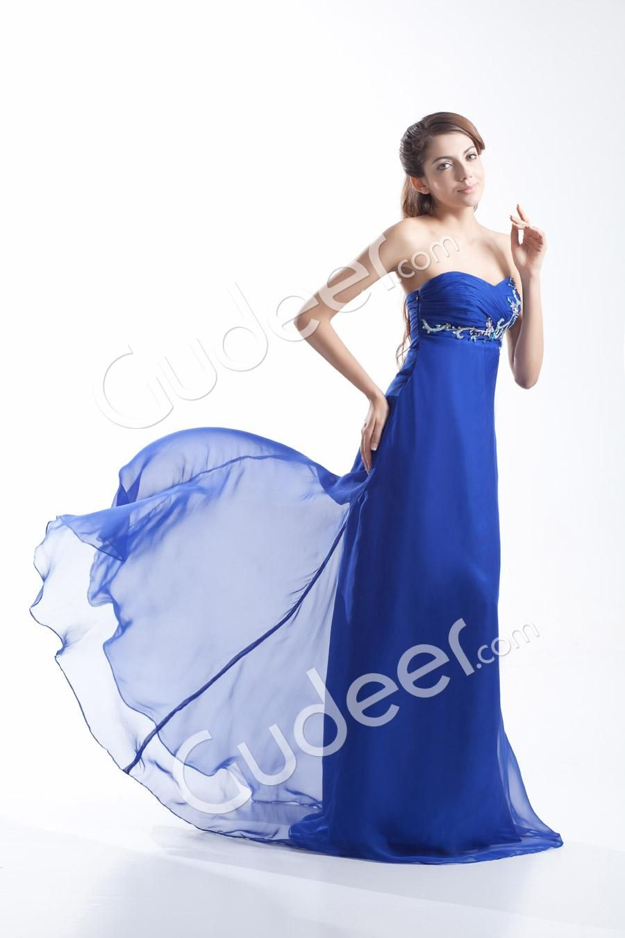 Royal blue chiffon strapless floor length sweep train evening prom
