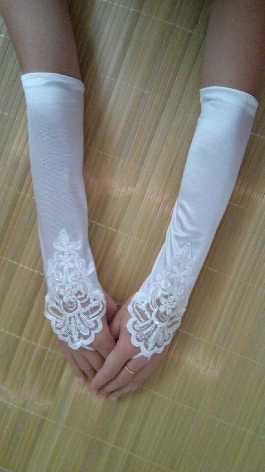 2014 Elegant Ivory Pearl Satin Lace Fingerless Bridal Gloves Formal Gloves #Fingerless