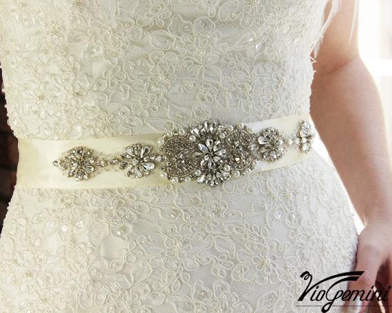 Wedding Sash Belt Crystal Wedding Belt Rhinestone by VioGemini