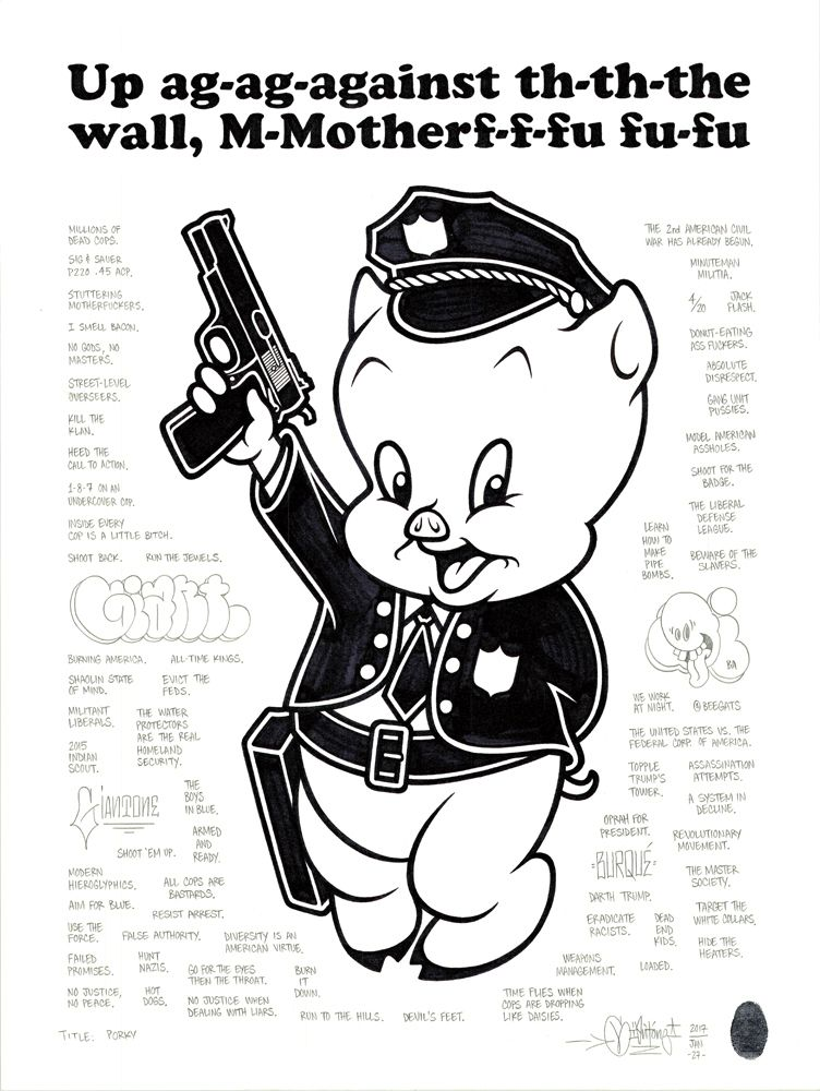 """Porky"", 18x24″, permanent marker and graphite on fine drawing paper, 2017. Based on an uncredited political poster from the 1960s."