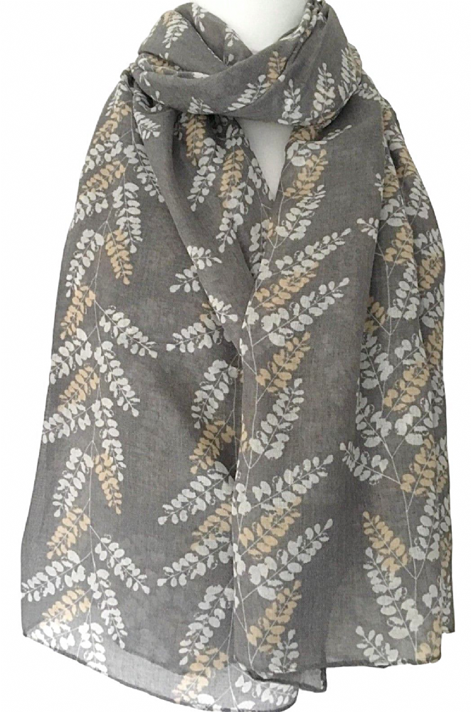 Large Grey Scarf With Leaf Print The Is Long Wide And Very Soft It Measures Approx 70 Inch 175 Cm In Length 37 92 Material