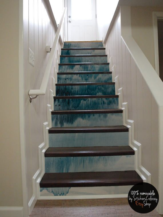 10 Step Stair Riser Decal, Dark Ocean Blue Drip Stair Sticker, Watercolor  Smudge Removable Stair Decor Strip, Peel U0026 Stick Stair Riser #25R