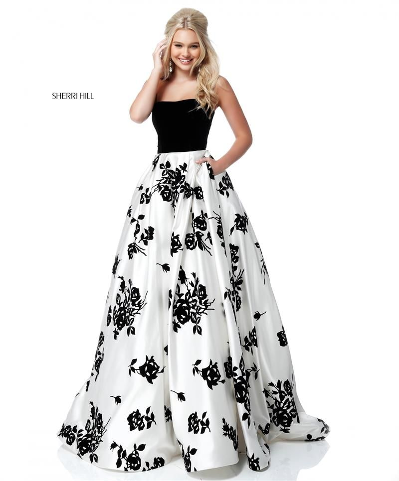 Sherri Hill 51685 Black and White Floral Print Strapless Spring 2018  Collection Ypsilon Dresses Prom Pageant Evening Gown Homecoming Sweethearts  Black Tie ...