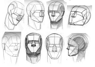 Matthias Kinnigkeit Art the planes of the face - simplified, close to those in the skeleton of man drawing series by Riven Phoenix.