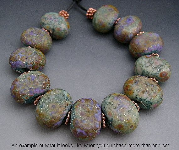 Water Lily Glass Bead Necklace Summer Necklace Lampwork Glass Bead Necklace
