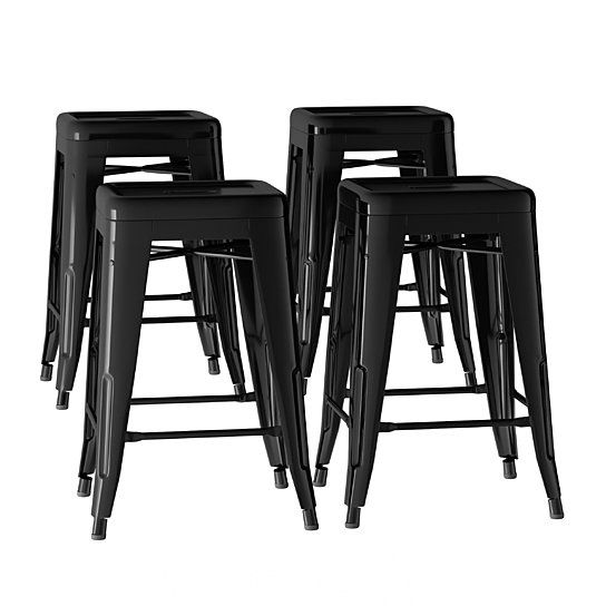 Black Metal Bar Stool Set 24 Inch Counter Height Set Of 4
