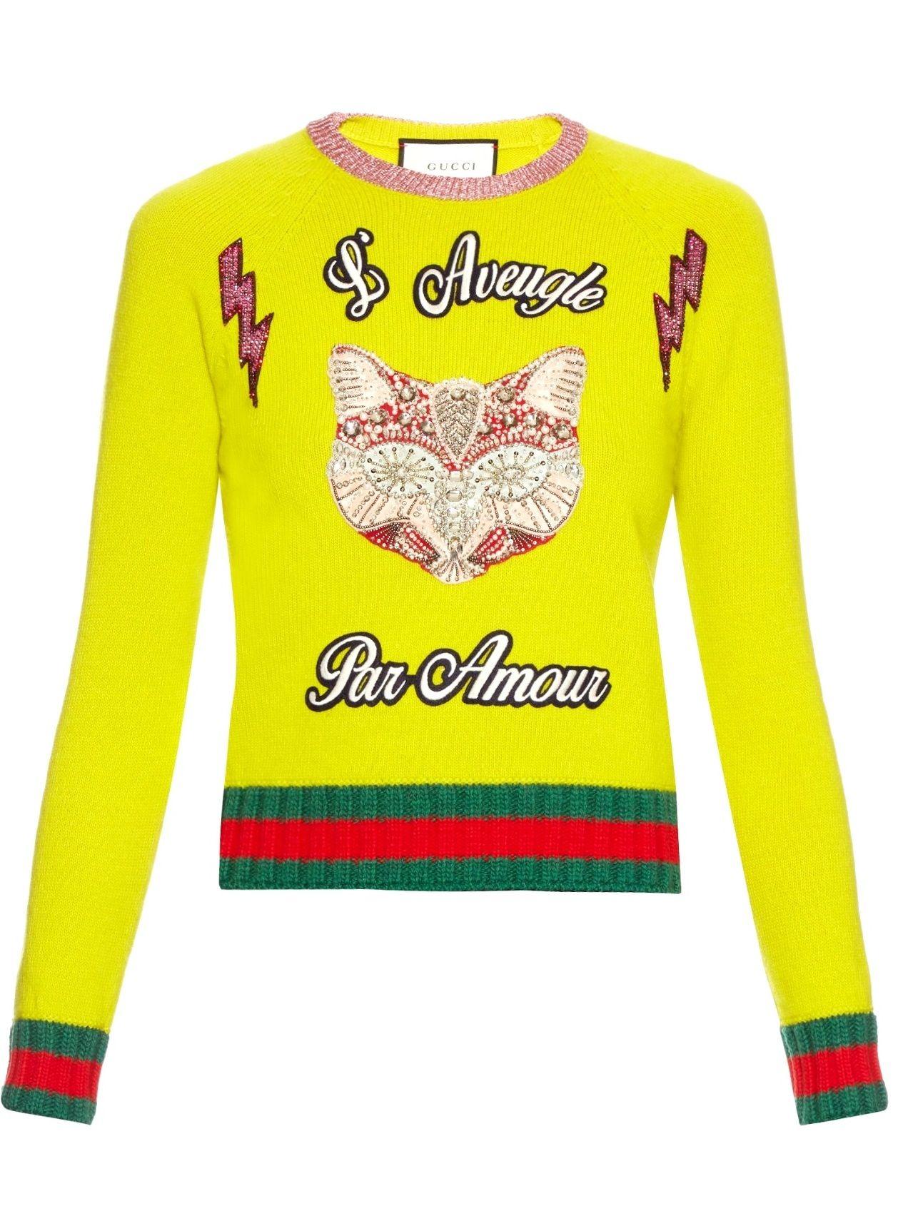84cf24cecc Gucci Fox Embroidered Knit Top Neon Women s Sweater