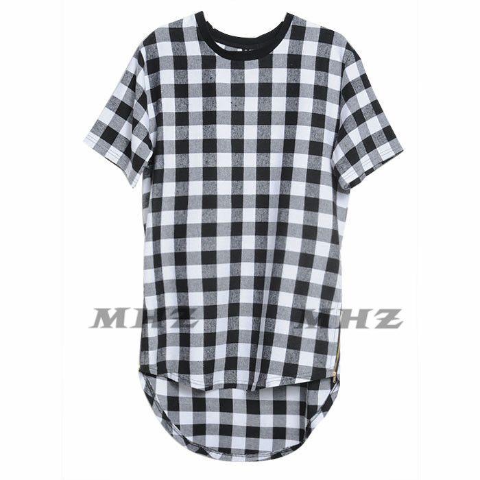 a888a775486 XXXL Hip Hop T-Shirt Casual Plaid Shirts Men High Quality Star Hiphop Tee  Streetwear Swag Tops Tees Men Shirt Tyga Summer Style