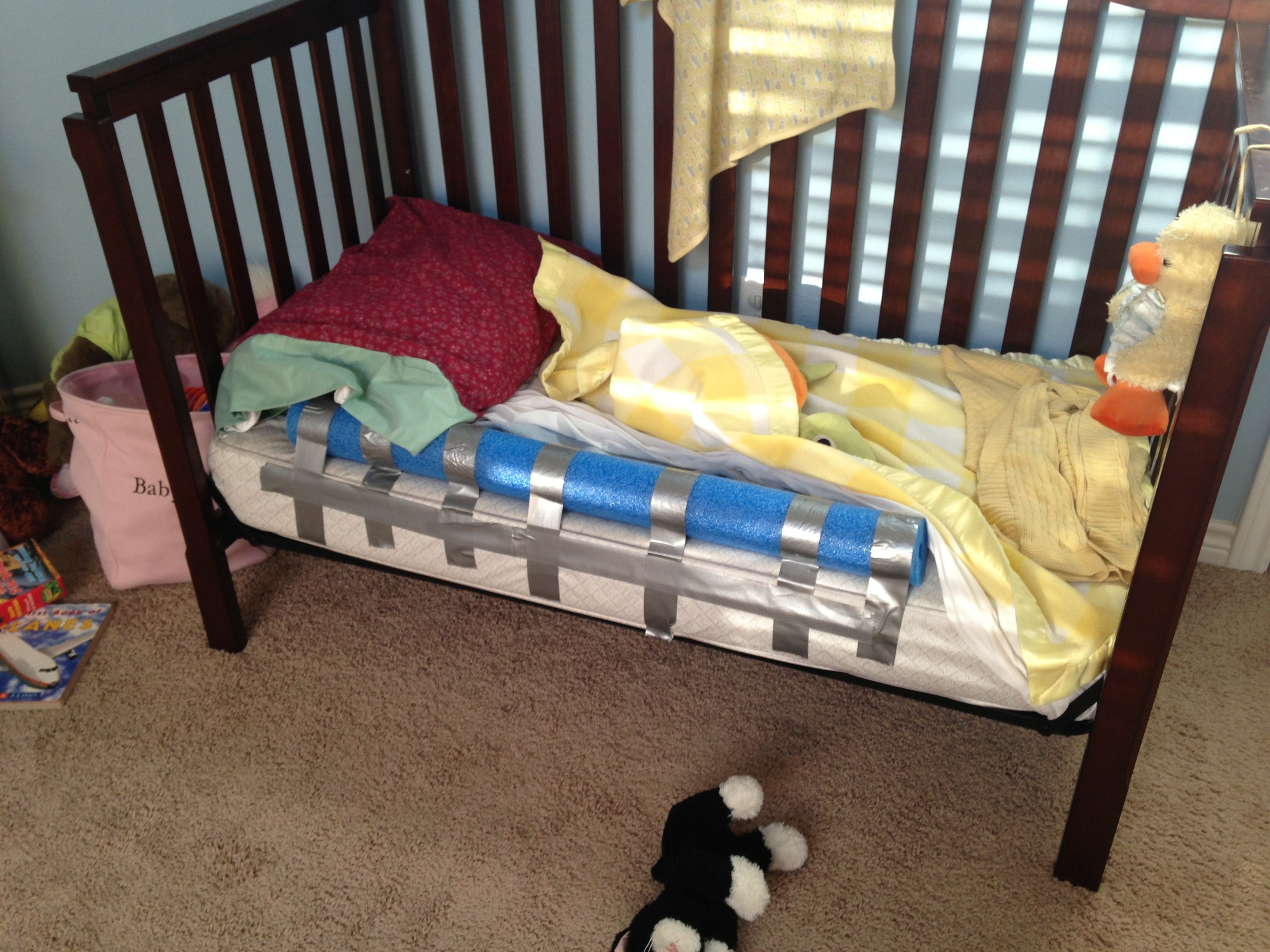 Pool Noodle Safety Bumper Just Pull Fitted Sheet Over The