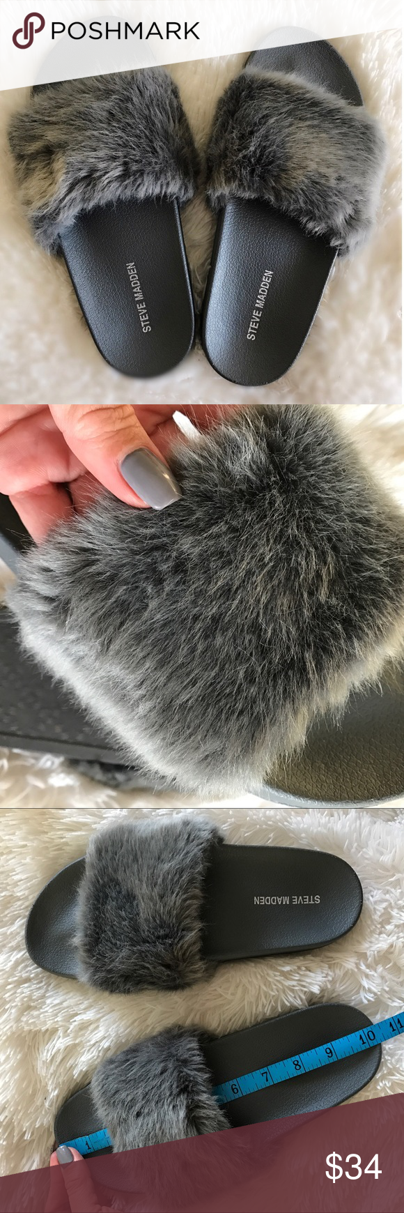 STEVE MADDEN  FUZZY SLIDES SIZE 9 STEVE MADDEN SOFTEY SLIDE SIZE 9 women. The footbed is true to size. The fuzzy strap would accommodate a narrow foot best (it seemed tighter to me than most my slides, which is why I am selling). NO FLAWS, Never worn outside the house. And only worn briefly  Super cozy! I LOVE ALL MY FUZZY SLIDES! it's my summertime ugg!   Ships same or next day. Smoke free home.  BUNDLE TO SAVE. BUYING ON POSH = NO SALES TAX!  Steve Madden Shoes