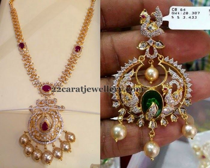Jewellery Designs: CZ Set with Chandbali Locket and Earrings