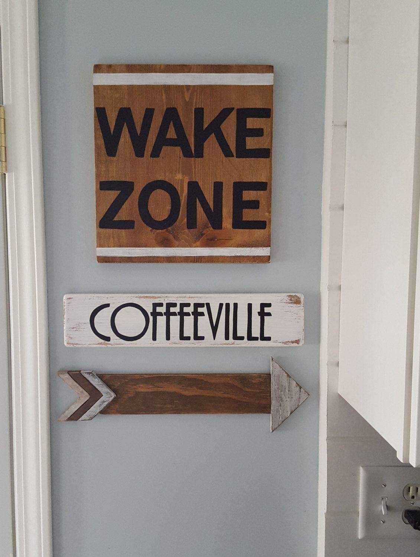 Coffee Signs Kitchen Decor Wake Zone Coffee Signs Kitchen Signs Coffee Decor  Rustic