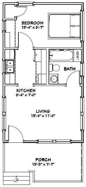 16x28 Tiny House 16x28h1g 447 Sq Ft Excellent Floor Plans Cottages House Plans