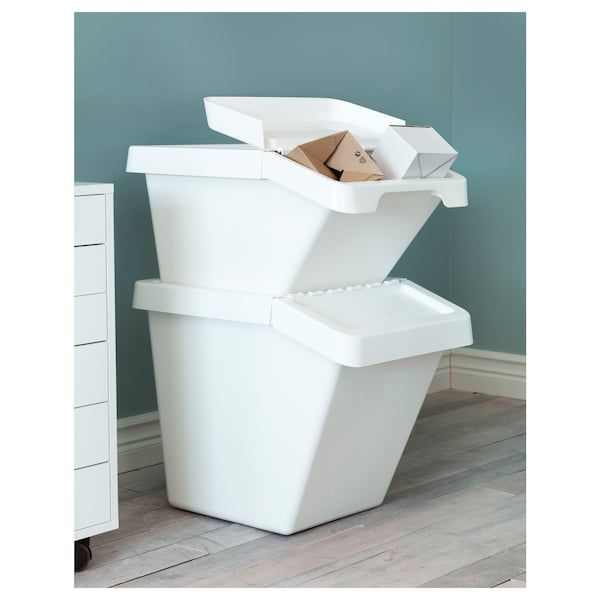 SORTERA Waste Sorting Bin With Lid - White 60 L