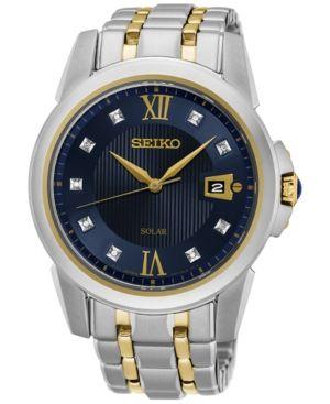Seiko Men's Solar Diamond Accent Le Grand Sport Two-Tone Stainless Steel Bracelet Watch 41mm SNE428 - Silver