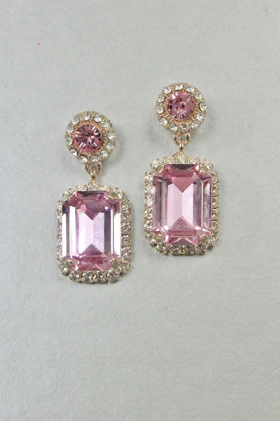c80bd9b8b ROSE GOLD Bridal Jewelry Wedding Earring, Sale Swarovski Crystal Emerald  Cut Pink Art Deco Pink Blus