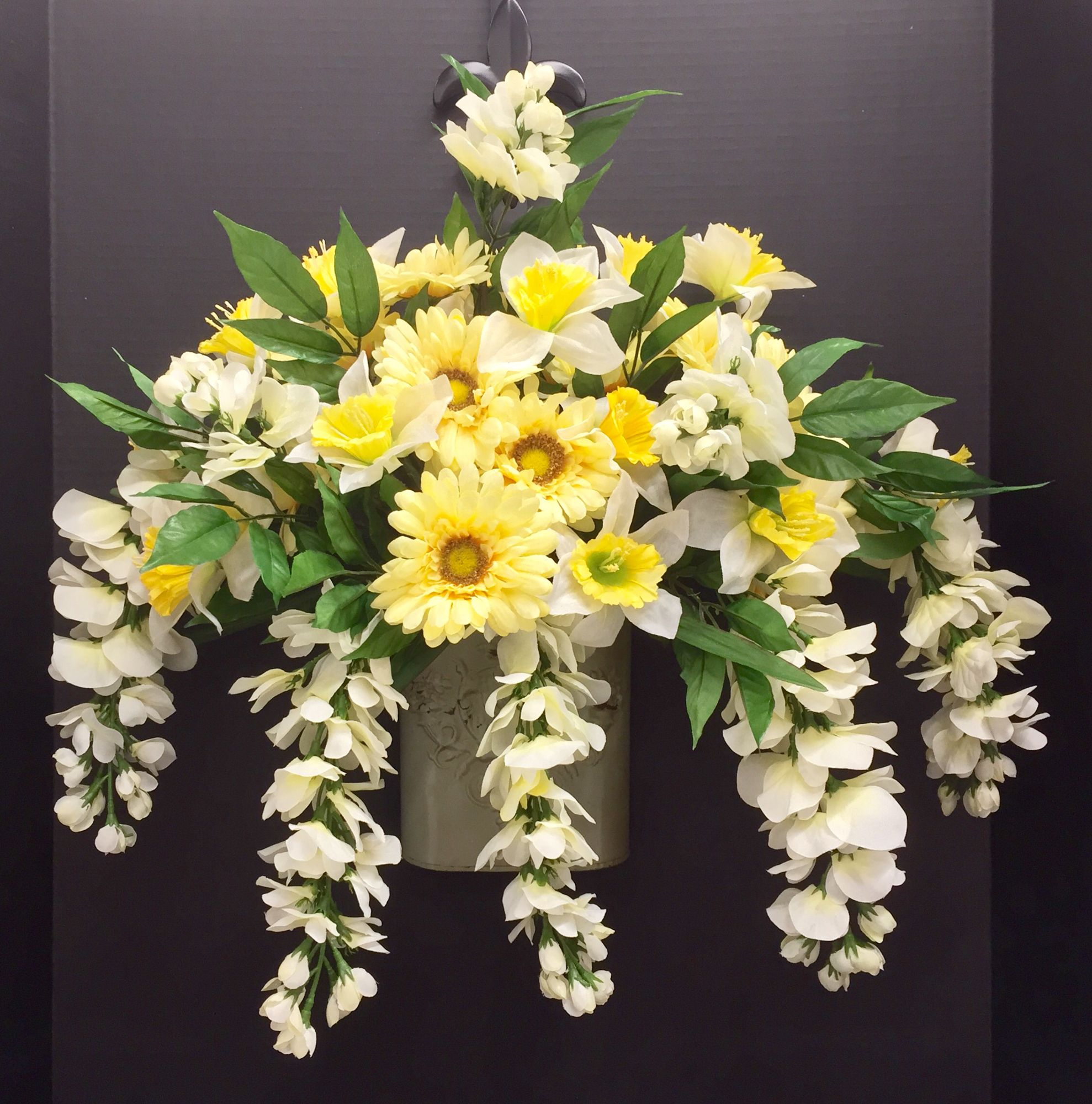 Spring Wall: Daffodils, Daisies and Wisteria on metal wall bucket ...