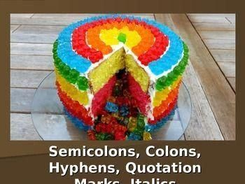 Photo of Colons, Semicolons, Quotation Marks, Italics, and Hyphens PowerPoint – cumpleañ…