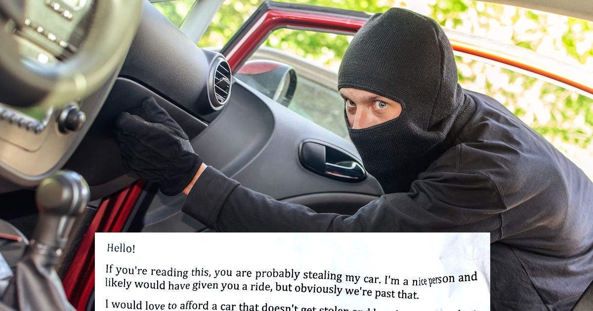 A guy left a note in his glove box in case his car was