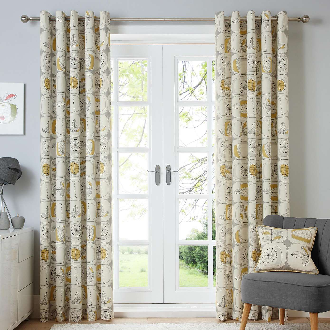 Modern Nature Ochre Lined Eyelet Curtains | Dunelm | Spare double ... for Double Eyelet Curtains  287fsj