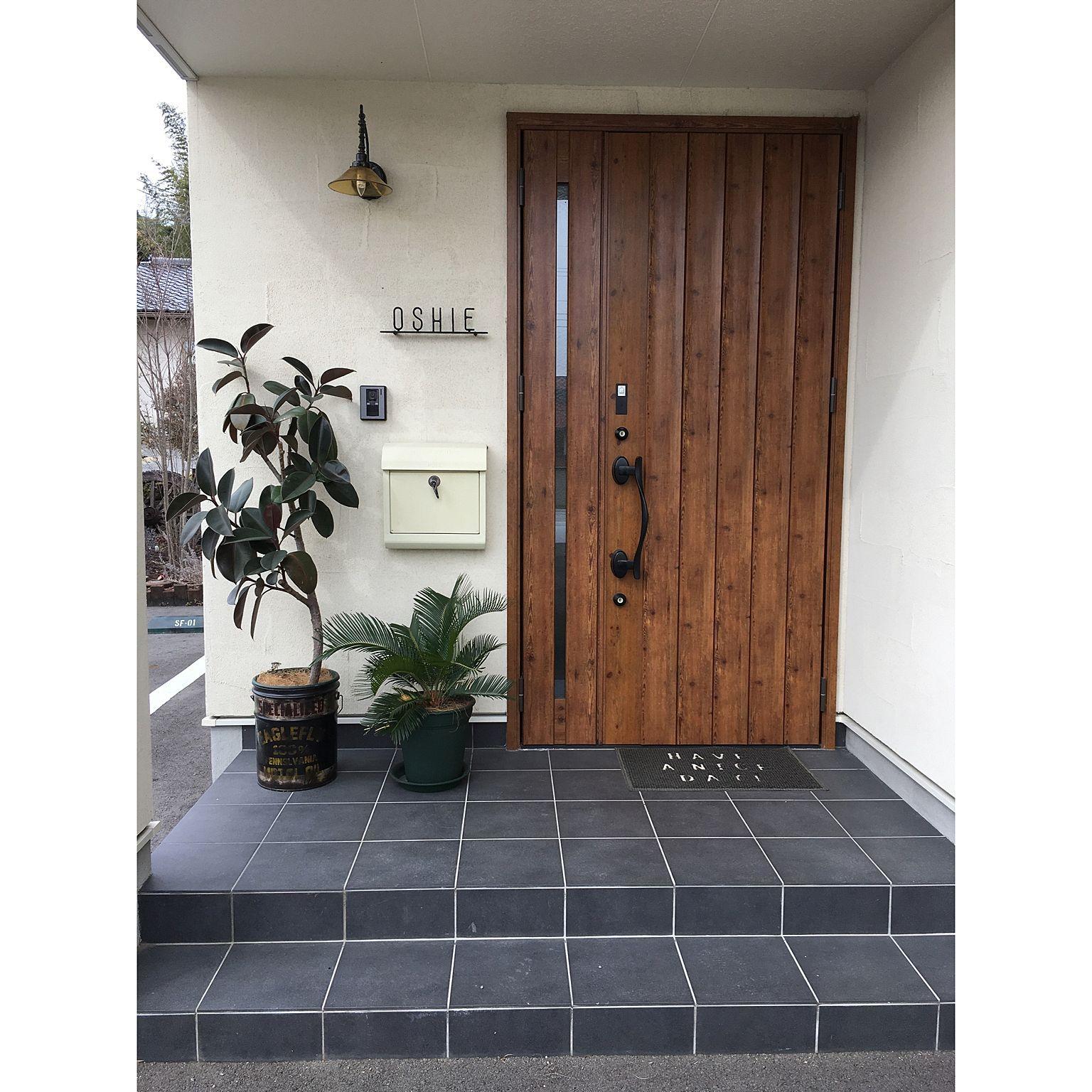 玄関 入り口 玄関ドア ソテツ エントランス ポスト などのインテリア