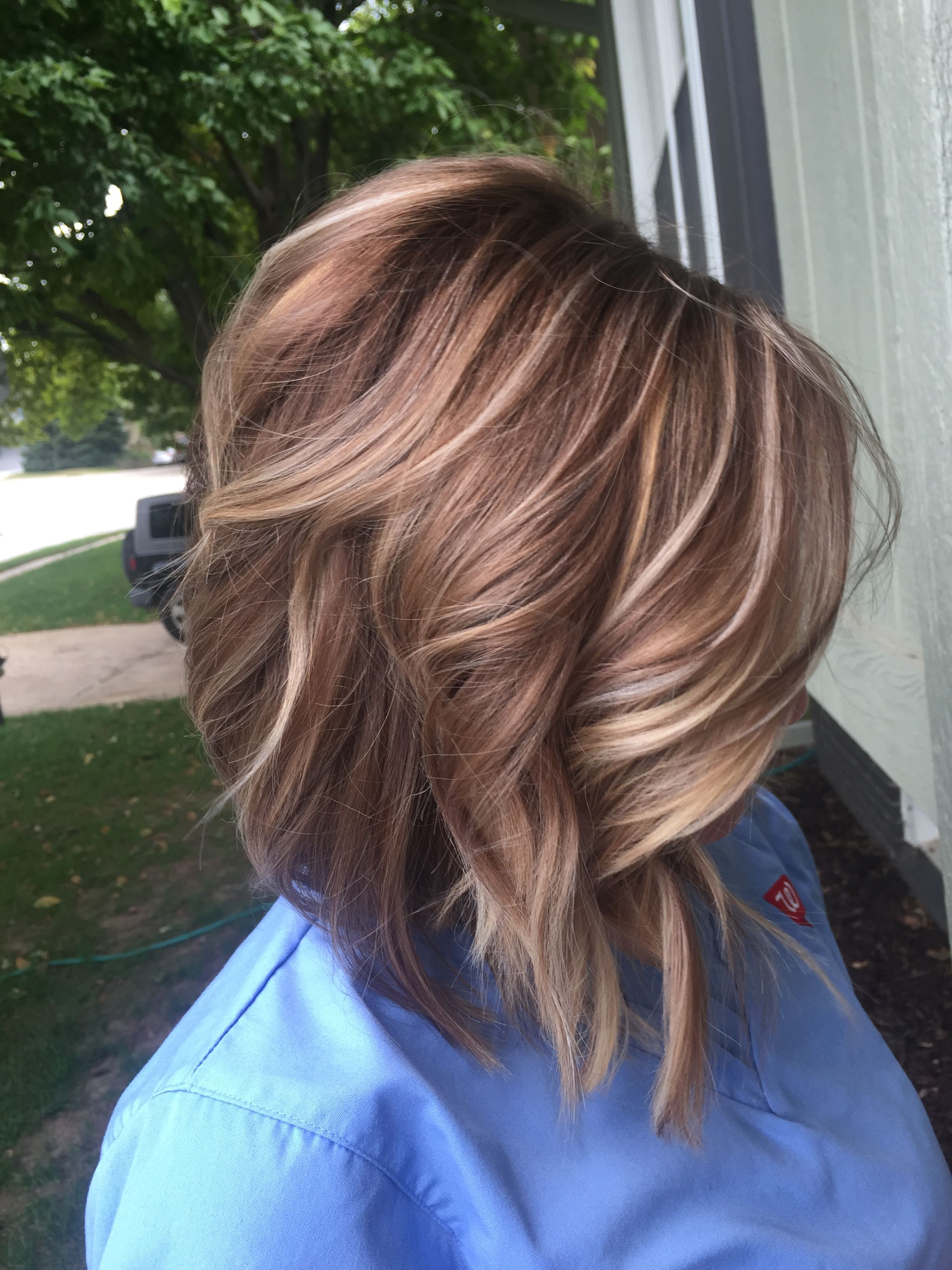 Lob Lowlights Highlights Blonde And Brown Carmel Highlights Fall